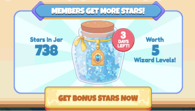 "Jar of stars saying ""members get more stars"" get bonus stars now by becoming a member, worth 5 wizarding levels"