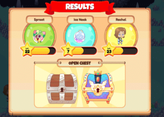 Results page on Prodigy with scores and two treasure chests