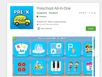 Preschool all-in-one app screen shot