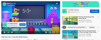 Monster video advertisement; monster in front of a chalk board asking children to click.