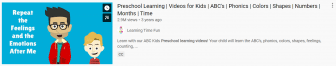 """Screen capture of a video that says """"Repeat the feelings"""" and claims that children will learn phonics, ABCs, counting."""