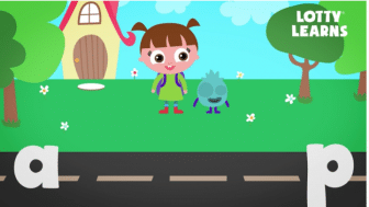 animated child with pig tales stands in front of the letters A and P