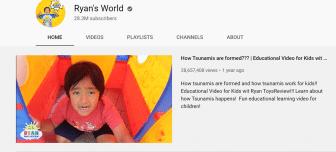 Screen shot of Ryan's World youtube channel.