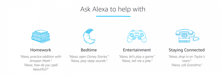 Screen shot of amazon's offerings for Alexa, including help with bedtime, hoemwork, entertainment, and staying connected