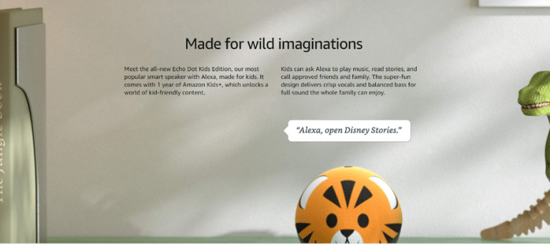 """Tiger designed amazon echo with """"Made for wild imaginations"""" above"""