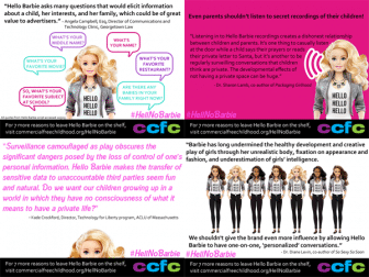 grid of 4 memes illustrating the harms of Hello Barbie in pinks, whites, and blacks