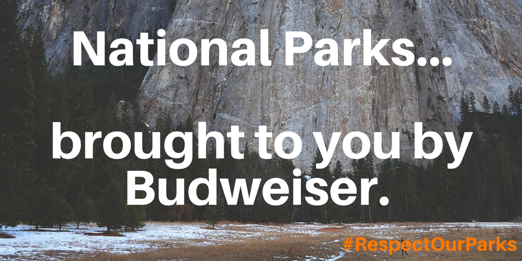 Alcohol Ads do not belong in national parks. (1)