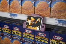 A 3GTV in front of a display of Kraft Mac n' Cheese
